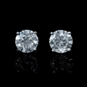 Diamond 1.02 Carats 18k White Gold Stud Earrings