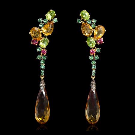 Diamond Tourmaline and Citrine 18k Yellow Gold Dangle Earrings
