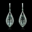 21.85ct Green Amethyst Tourmaline and Sapphire 18k White Gold Dangle Earrings