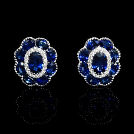 Diamond and Blue Sapphire Antique Style 18k White Gold Cluster Earrings