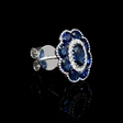 .13ct Diamond and Blue Sapphire Antique Style 18k White Gold Cluster Earrings