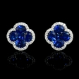 .30ct Diamond and Blue Sapphire 18k White Gold Cluster Earrings