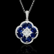 .33ct Diamond and Blue Sapphire 18k White Gold Pendant