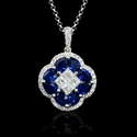 Diamond and Blue Sapphire 18k White Gold Pendant