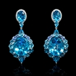 .23ct Diamond Blue Sapphire and Blue Topaz 18k White Gold Dangle Earrings