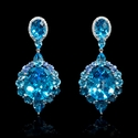 Diamond Blue Sapphire and Blue Topaz 18k White Gold Dangle Earrings