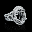 1.46ct Diamond Antique Style 18k White Gold Engagement Ring Setting