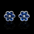 .05ct Diamond and Blue Sapphire 18k White Gold Cluster Earrings
