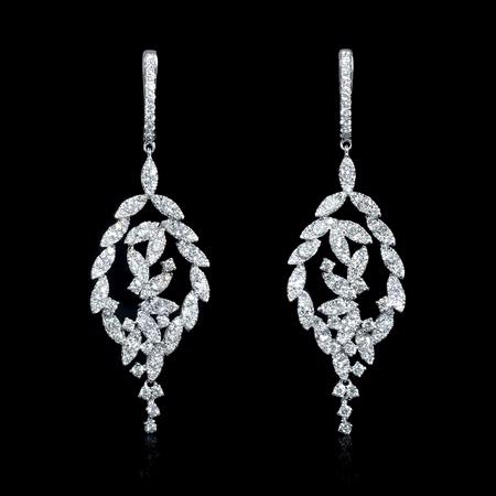 3.12ct Diamond 18k White Gold Dangle Earrings