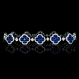 2.92ct Diamond and Blue Sapphire 18k White Gold Bracelet