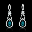 1.41ct Diamond and Chatham Emerald 18k White Gold Dangle Earrings