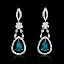 Diamond and Chatham Emerald 18k White Gold Dangle Earrings