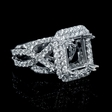 1.13ct Diamond 18k White Gold Halo Engagement Ring Setting