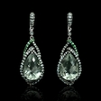 13.48ct Green Amethyst Tourmaline and Sapphire 18k White Gold Dangle Earrings