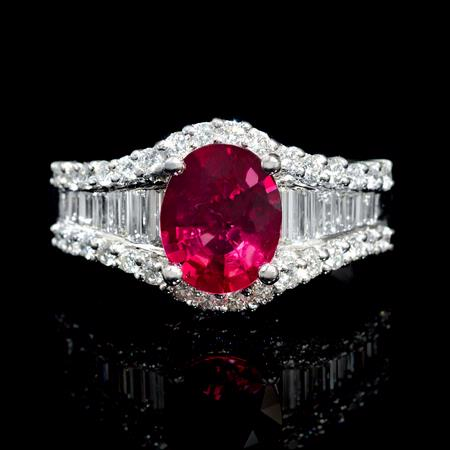 Diamond and Rubellite 18k White Gold Ring