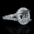 .95ct Diamond 18k White Gold Halo Engagement Ring Setting
