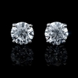3.08ct Diamond 14k White Gold Stud Earrings