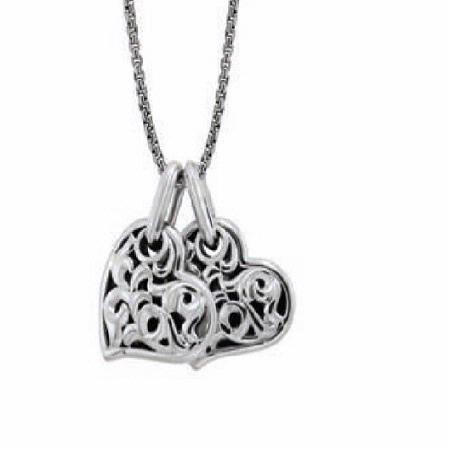 Charles Krypell Small Sterling Two Hearts Beat As One Necklace