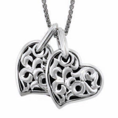 Charles Krypell Large Sterling Two Hearts Beat As One Necklace