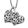 Charles Krypell Large Sterling Silver Two Hearts Beat As One Necklace