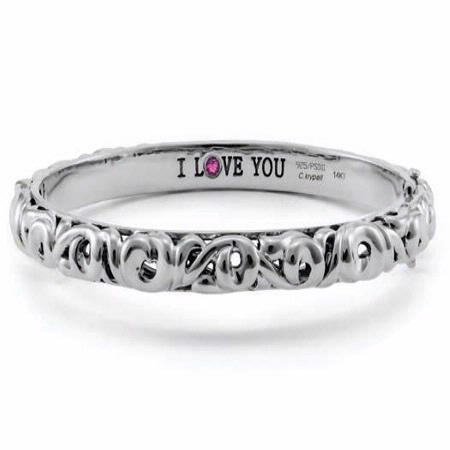 Charles Krypell Sterling Silver Pink Sapphire Say I Love You Bracelet