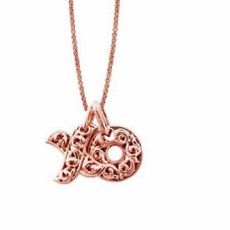 Charles Krypell Small 18k Rose Gold Hugs and Kisses Necklace