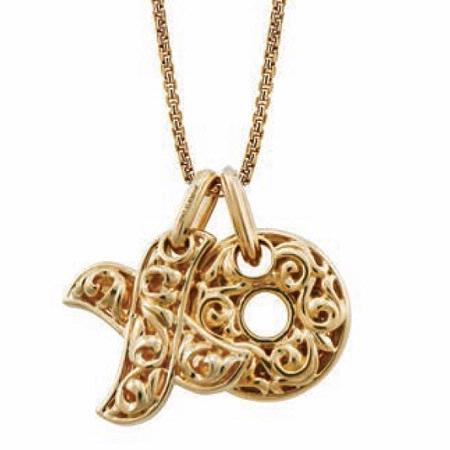 Charles Krypell Small 18k Yellow Gold Hugs and Kisses Necklace