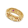 Charles Krypell 18k Yellow Gold Pink Sapphire Say I Love You Ring