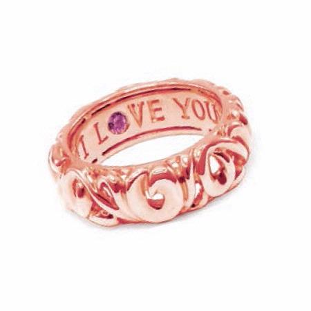 Charles Krypell 18k Rose Gold Pink Sapphire Say I Love You Ring