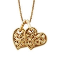Charles Krypell Large 18k Yellow Gold Two Hearts Beat As One Necklace