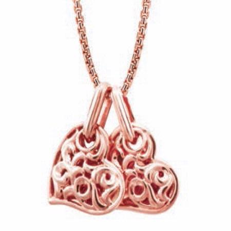 Charles Krypell Small 18k Rose Gold Two Hearts Beat As One Necklace