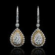 1.15ct Diamond 18k Two Tone Gold Dangle Earrings
