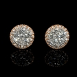 1.27ct Diamond 18k Two Tone Gold Cluster Earrings