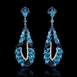 .49ct Blue Sapphire, Blue Topaz and Iolite 18k White Gold Dangle Earrings.