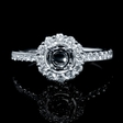 .47ct Diamond 18k White Gold Halo Engagement Ring Setting
