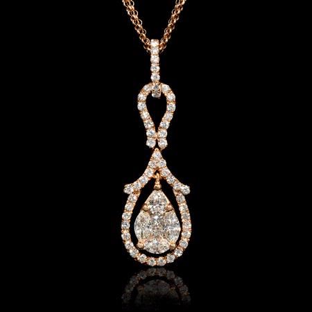 Diamond and Pink Sapphire 18k Rose Gold Pendant