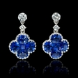 .33ct Diamond and Blue Sapphire 18k White Gold Dangle Earrings