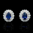 .63ct Diamond and Blue Sapphire 18k White Gold Cluster Earrings