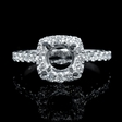 .92ct Diamond 18k White Gold Halo Engagement Ring Setting