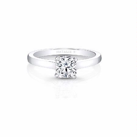 Natalie K Diamond 18k White Gold Single Bezelset Accent Solitaire Engagement Ring Setting
