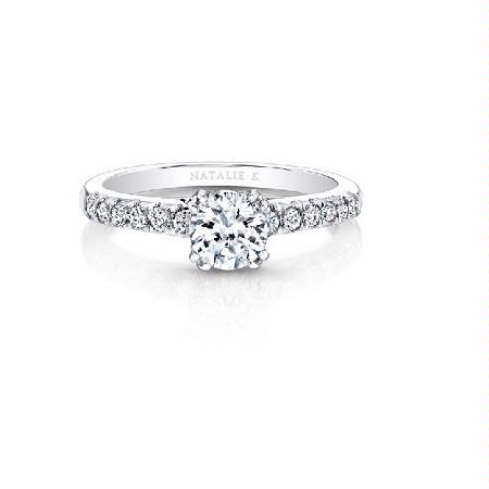 Natalie K Diamond 18k White Gold Elongated Accented Shank Engagement Ring Setting