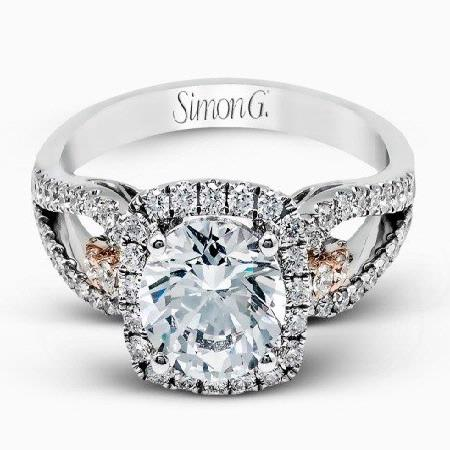 Simon G Diamond 18k Two Tone Gold Passion Collection Engagement Ring Setting