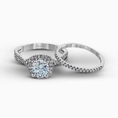 Simon G Diamond 18k White Gold Passion Collection Halo Engagement Ring Setting and Wedding Band Set