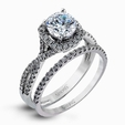 .44ct Simon G Diamond 18k White Gold Passion Collection Halo Engagement Ring Setting and Wedding Band Set