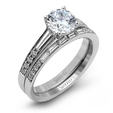.74ct Simon G Diamond 18k White Gold Passion Collection Engagement Ring Setting and Wedding Band Set