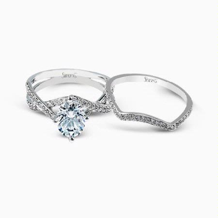 Simon G Diamond 18k White Gold Passion Collection Engagement Ring Setting and Wedding Band Set