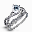 .22ct Simon G Diamond 18k White Gold Passion Collection Engagement Ring Setting and Wedding Band Set