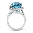 .66ct Simon G Diamond and Aquamarine 18k White Gold Ring
