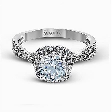 Simon G Diamond 18k White Gold Passion Collection Halo Engagement Ring Setting