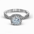 .30ct Simon G Diamond 18k White Gold Passion Collection Halo Engagement Ring Setting